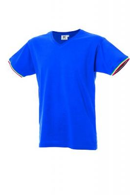 T-Shirt con tricolore bordo manica scollo V