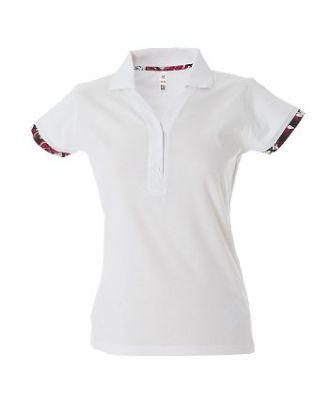 Polo sciancrata Jersey donna bordi manica colorati