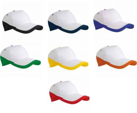 Cappellino Baseball 5 pannelli bordi colorati